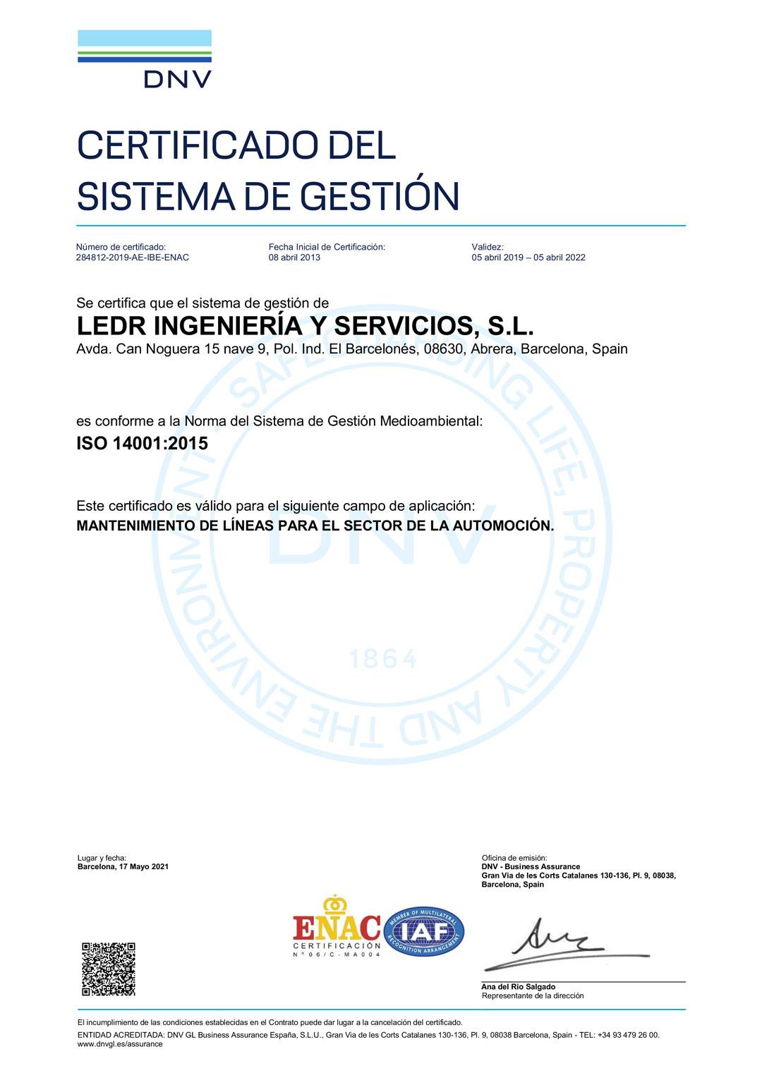 LEDR Certificado ISO14001